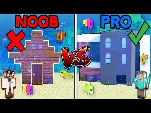 Minecraft Noob Vs Pro Secret Underwater House In Minecraft W
