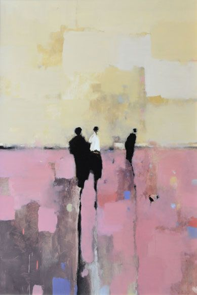 """""""Figures in Red-Purple,"""" by Geoffrey Johnson, 36 x 24, Oil on Panel -- at Principle Gallery"""