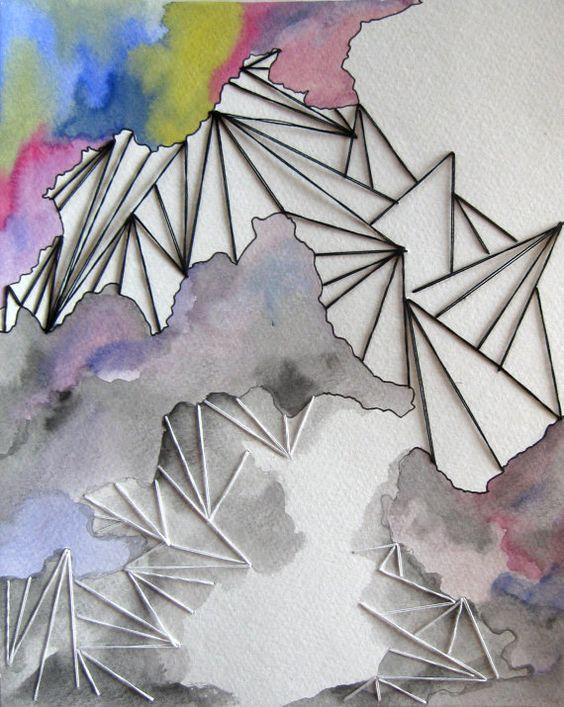 Gestickte Aquarell Original Kunst gemischt Media Fasern Stickerei auf Papier Abstract Geo Neon Pink Gelb blau grau schwarz weiß