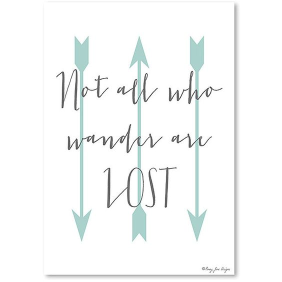 Americanflat Blue Arrow 'Not All Who Wander Are Lost' Wall Art ($17) ❤ liked on Polyvore featuring home, home decor, wall art, arrow home decor, canvas wall art, blue wall art, blue home accessories and canvas home decor