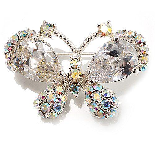Kleine CZ-Schmetterlingsbrosche (Silber/glasklar) - http://schmuckhaus.online/unbekannt/kleine-cz-schmetterlingsbrosche-silber