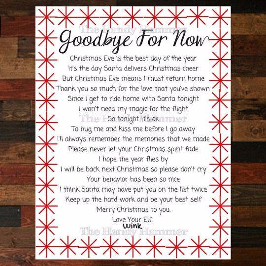 Departure Leaving Letter for your Shelf Elf - Goodbye Letter From Elf