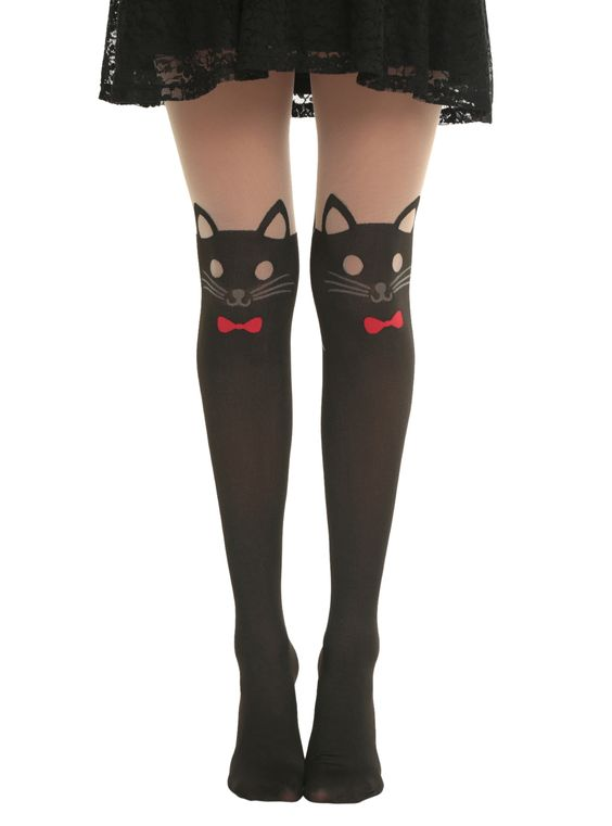 LOVEsick Red Bow Cat Faux Thigh High Tights | Hot Topic