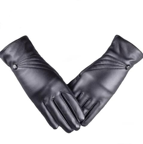 Long Keeper Mens Genuine Leather Gloves Winter Full Finger Waterproof Driving Mittens,Black,One Size