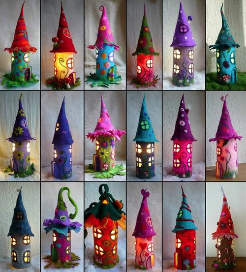 Your (2nd) daily dose of color: Felted Fairy Lamps by FeltedArtToWear