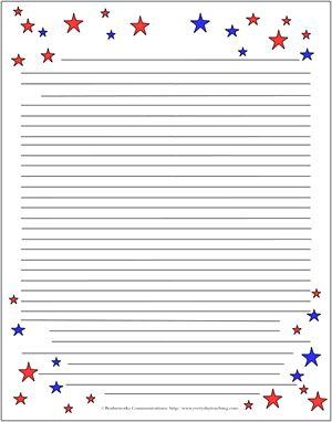 Patriotic Letter Template  Free Lined Stationery Templates