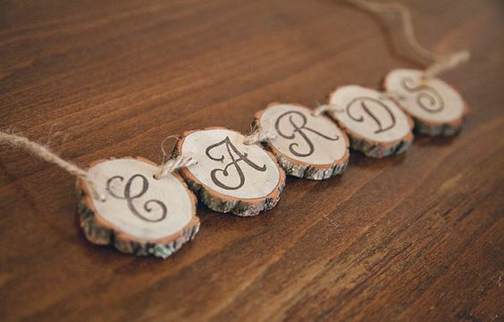 Hand Stamped Wood Slice CARDS Banner by PNZdesigns on Etsy, $17.50