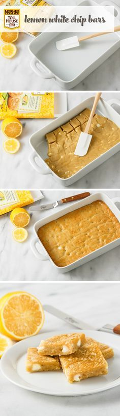 Lemon White Chip Bars  Goodbye, regular old lemon bars. Hello, Lemon White Chip Bars! This cookie twist on a picnic favorite couldn't be easier with Nestle Toll House Limited Edition White Chip Lemon Refrigerated Cookie Dough.