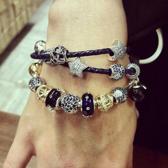 Bracelet Pandora Stars Etoiles Argent Silver Blue Bleu Gold Bijoux et charms à\u2026