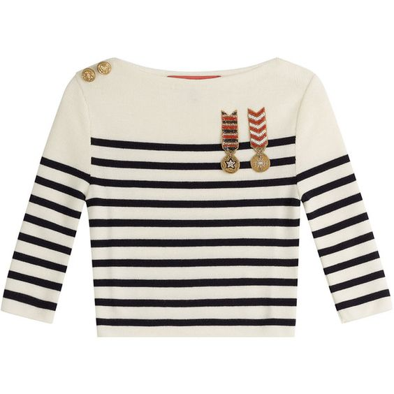 Hilfiger Collection Cropped Wool Pullover (£270) ❤ liked on Polyvore featuring tops, sweaters, multicolor, military sweater, long-sleeve crop tops, pullover sweaters, white wool sweater and white crop top