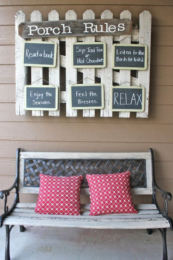 DIY Porch and Patio Ideas - Hanging Front Porch Rules - Decor Projects and Furniture Tutorials You Can Build for the Outdoors -Swings, Bench, Cushions, Chairs, Daybeds and Pallet Signs  http://diyjoy.com/diy-porch-patio-decor-ideas