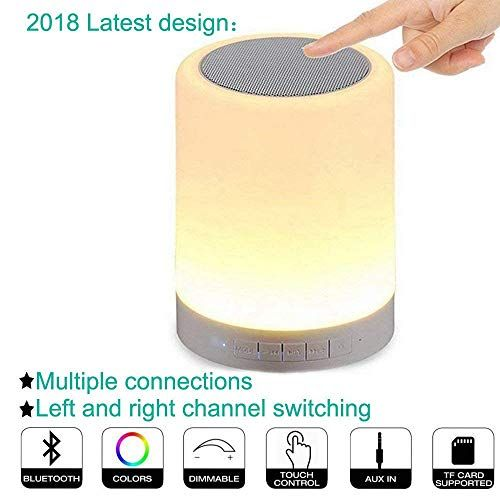Night Lights Bluetooth Speaker Alarm Clock Bluetooth Speaker Touch Sensor Bedside Lamp Dimmable Multi Color Changing Bedside Lamp Mp3 Player Wireless Speaker Wireless Music Bluetooth Speaker