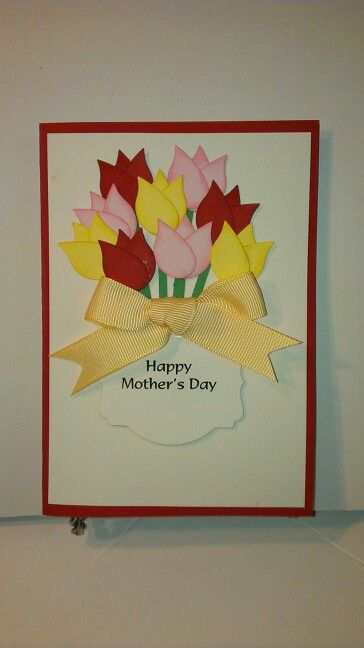 """Female Card # 228 - Tulips/ Flowers Punch Art. Handmade For You design. Pictured Card Size 4"""" x 6""""."""