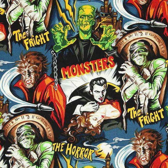 Robert Kaufman Movie Monster Dracula Frankenstein Baby Blanket by SnuggleBugZZZ