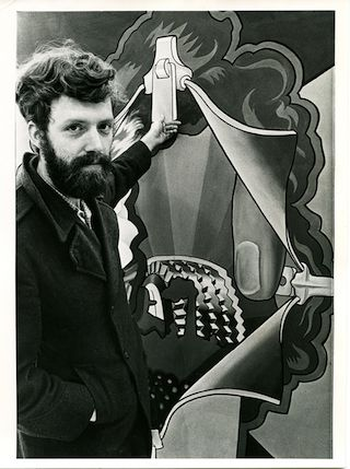 """Hairy Who artist Art Green with his painting """"Disclosing Enclosure"""" (1969), oil on canvas, 93 x 62.5 in (photo by Chicago Daily News, courtesy Pentimenti Productions)"""
