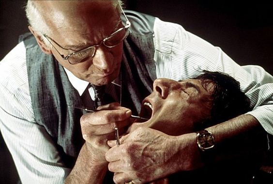 """Marathon Man"" The ""Is it safe?"" torture scene. Starred Lawrence Olivier and Dustin Hoffman (1976)."