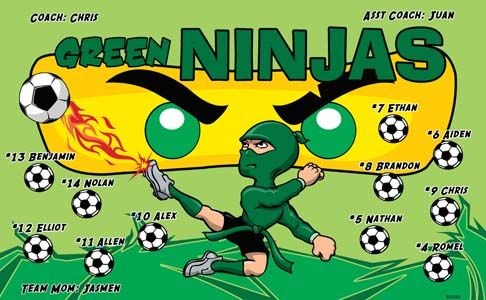 Green Ninjas B54160  digitally printed vinyl soccer sports team banner. Made in the USA and shipped fast by BannersUSA.  You can easily create a similar banner using our Live Designer where you can manipulate ALL of the elements of ANY template.  You can change colors, add/change/remove text and graphics and resize the elements of your design, making it completely your own creation.