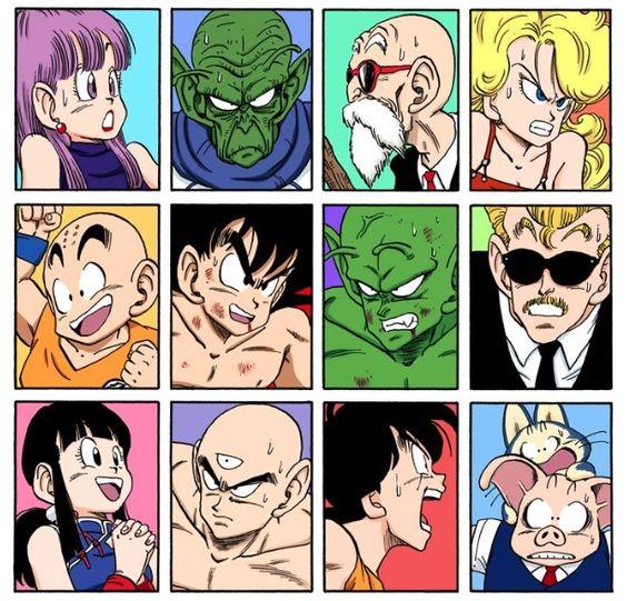 Dragon ball Characters - Bulma, Kami, Roshi, Lunch, Krilin, Goku, Piccolo, el locutor del torneo cuyo nombre nunca recuerdo XD, Milk (o Chi Chi, como quieran) Tien, Yamcha, Puar y Ooolong.