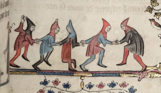 Great movement captured in these dancers. Oxford, Bodleian Library, MS Bodley 264 (14th c).