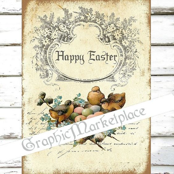 Happy Easter Birds Nest Happy Easter Instant by GraphicMarketplace