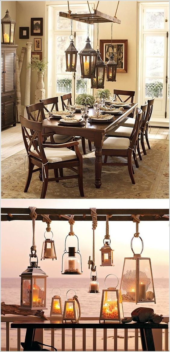 Create a Chandelier From a Ladder and Lanterns -- outdoor lighting idea