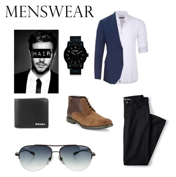"""""""Idek"""" by potatolover123 ❤ liked on Polyvore featuring Lands' End, Stone Rose, Dolce&Gabbana, BLACK BROWN 1826, Nixon, Diesel, Chrome Hearts, men's fashion, menswear and slipons"""