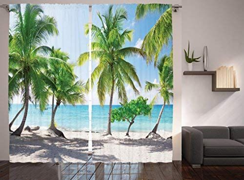 Amazon Com Ambesonne Beach Decor Curtains By Palm Leaves