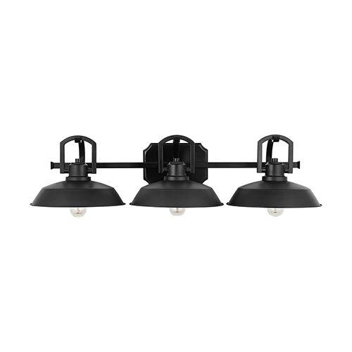 Austin Allen Co Matte Black Three Light Vanity 9d295a Vanity Lighting Light Bathroom Vanity Lighting