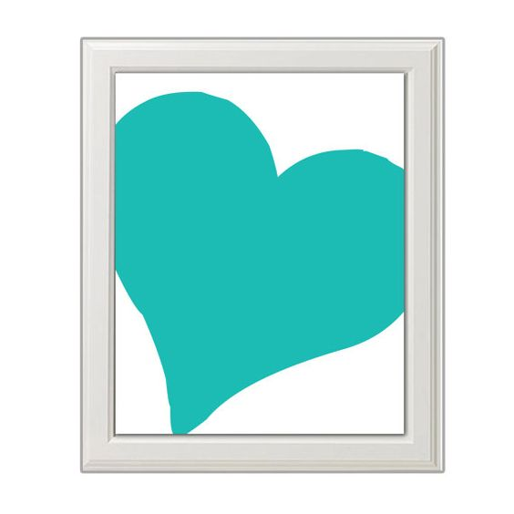Blue Art Nursery Heart Printable Design, Wall Art, Downloadable    Print out this modern wall artwork from your home computer or local print shop to
