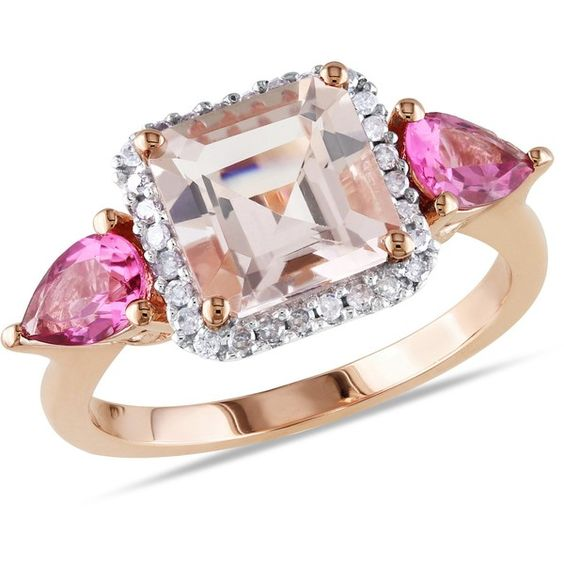 Ice Diamond, Morganite, Tourmaline 10k Pink Gold Ring (1,201,045 KRW) ❤ liked on Polyvore featuring jewelry, rings, women's accessories, red gold ring, diamond jewelry, tourmaline diamond ring, pear cut ring and rose gold tourmaline ring