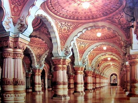 Colorful ceilings and columns in the palace of maharaja of for Architecture design for home in mysore