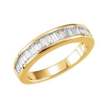 14k Yellow Gold White Diamond Channel Set Baguette Cut Anniversary Band