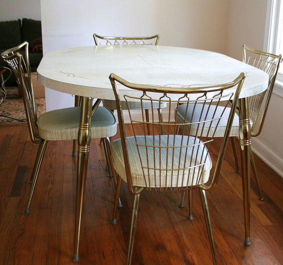 Mid Century Brass Formica Dinette Set 6 Chairs Table