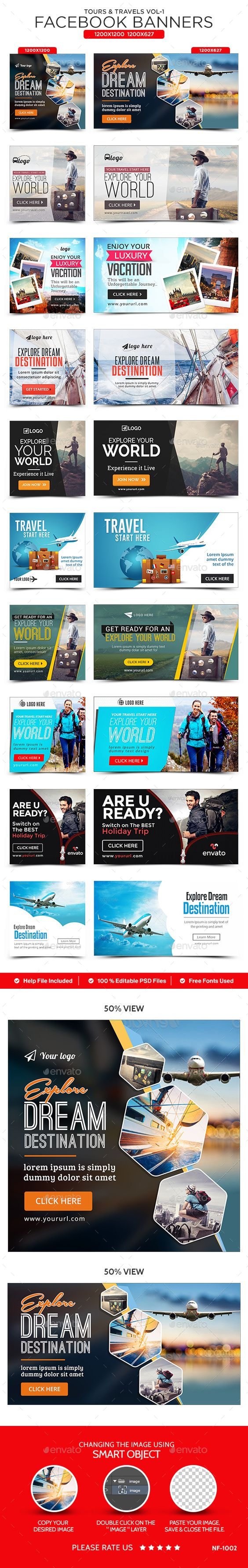 Tours & Travels Facebook Banners - 10 Designs Template PSD #ads #promote Download: http://graphicriver.net/item/tours-travels-facebook-banners-10-designs/14487621?ref=ksioks
