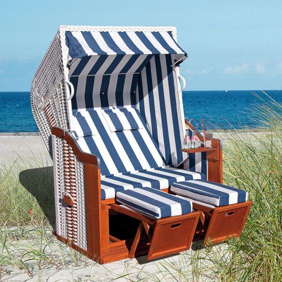 Sonnenpartner Gartenstrandkorb Rustikal 250 Plus 2-Sitzer, Halbliegemodell Kunststoffgeflecht weiß Stoff 80