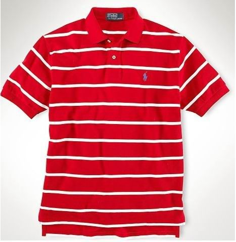 ralph lauren outlet online Ralph Lauren Men\u0026#39;s Custom-Fit Striped Short Sleeve Polo Shirt Red