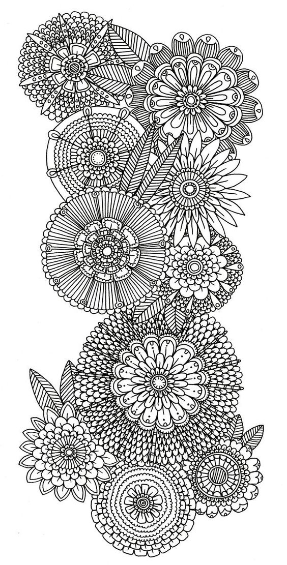 Abstract Doodle Flower Coloring Pages Colouring Adult