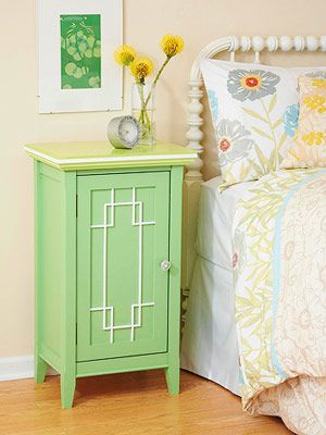 DIY painted nightstand: From BHG: Diy Furniture, Furniture Nightstand, Pretty Colors, Embellish Bedroom, Chic Nightstand, Furniture Ideas, Nightstand Ideas, Bedroom Ideas, Nightstand Makeover