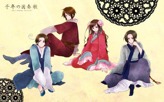 Yong-Soo, Ka Lung (head-canon name for Hong Kong), Mei En (head-canon name for Taiwan), and Yao - Art by Momo