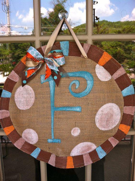 Sophisticated Initial - Custom Burlap Door Hanger. $30.00, via Etsy.