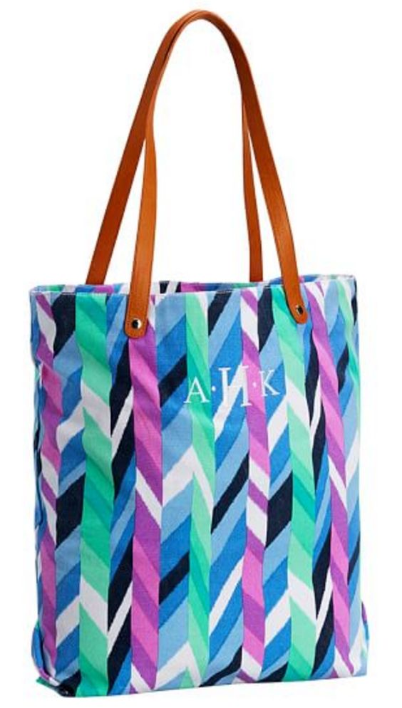 Personalized Beach Tote with Leather Straps