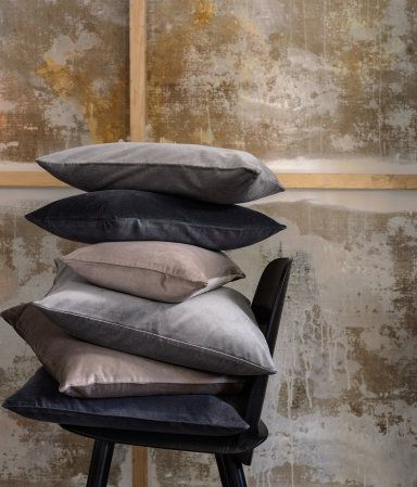 "Very ""current"" neutral combo: Light Gray + Black + Taupe; Velvet Cushion Cover 