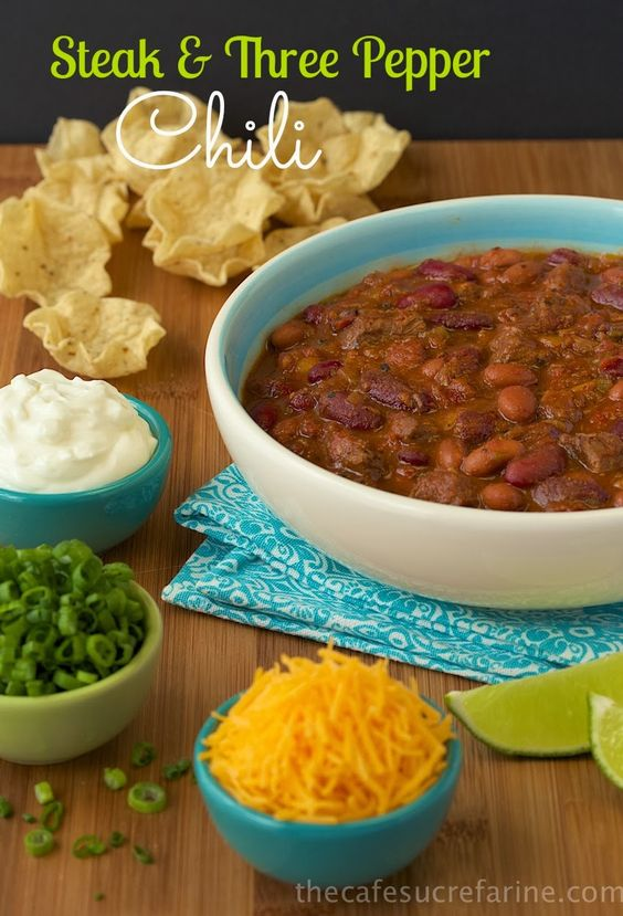 Steak & Three Pepper Chili -  a perfect meal for chilly winter days. It's loaded with tender steak, lots of healthy veggies and beans along with a few secret ingredients to bring tons of wonderful flavor!