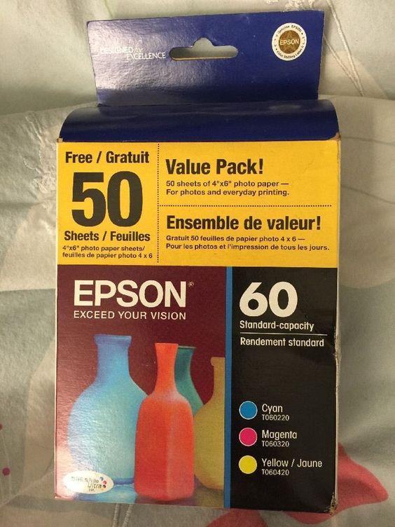 Genuine Epson 60 T060520 VP Cyan Magenta Yellow 10 2015 SEALED   eBay
