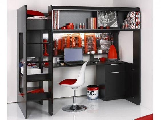 Lit mezzanine bureau integre chambre enfants pinterest for Lit mezzanine 1 place bureau integre