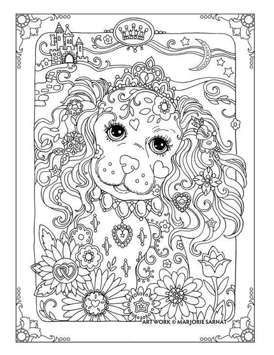 Pin By Sue Ann On Adult Coloring 2 Dog Coloring Page Adult