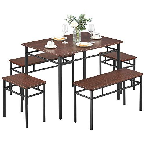 Kealive Dining Table Set With Bench 5 Pieces Modern Wood Table Top