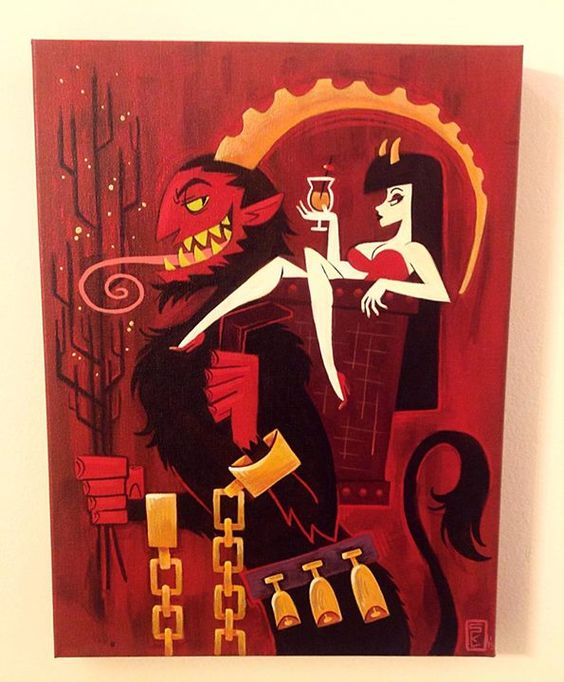 spookyhorseteeth: Naughty Cargo this acrylic painting was exhibited at Creatures Features for a Krampus themed art show in Burbank CA. It is for sale to anyone interested. http://ift.tt/1QbDbEW