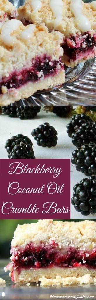 Blackberry Coconut Oil Crumble Bars