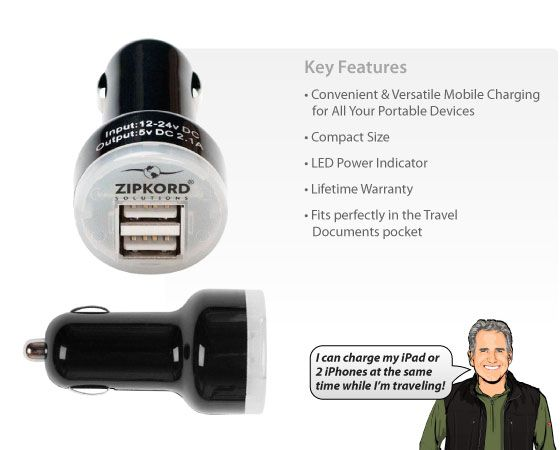 ZipKord Dual USB Car Charger
